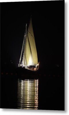 Arab Dhow At Night Metal Print by Paul Cowan