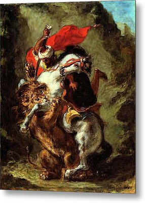 Metal Print featuring the painting Arab Horseman Attacked By A Lion by Eugene Delacroix
