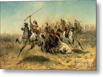 Arab Horsemen On The Attack Metal Print by Adolf Schreyer