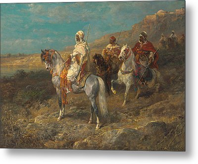 Arab On A White Horse Metal Print by Adolf Schreyer
