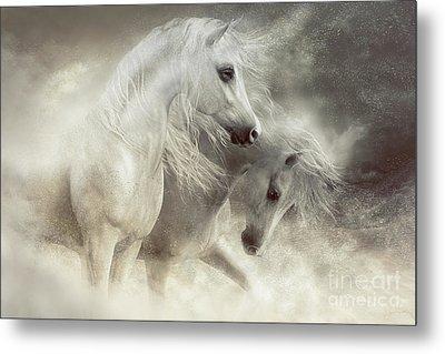 Metal Print featuring the digital art Arabian Horses Sandstorm by Shanina Conway