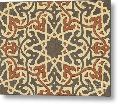 Arabian-moresque, Mosaic Textile Pattern Metal Print by Arabian School