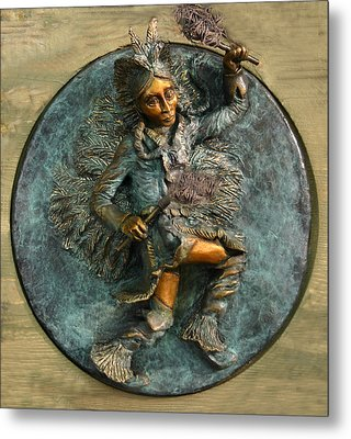 Metal Print featuring the relief Arapaho Dancer From Snowy Range Life  by Dawn Senior-Trask