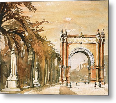 Metal Print featuring the painting Arch- Barcelona, Spain by Ryan Fox
