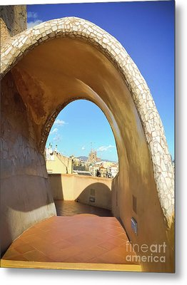Metal Print featuring the photograph Arch On The Rooftop Of The Casa Mila by Colleen Kammerer