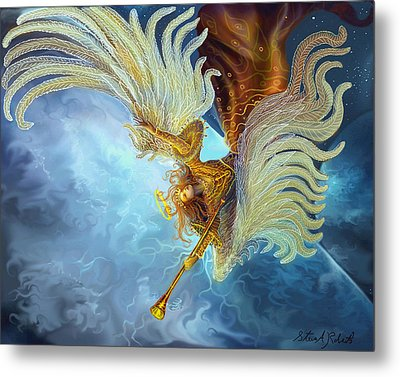 Metal Print featuring the painting Archangel Gabriel by Steve Roberts