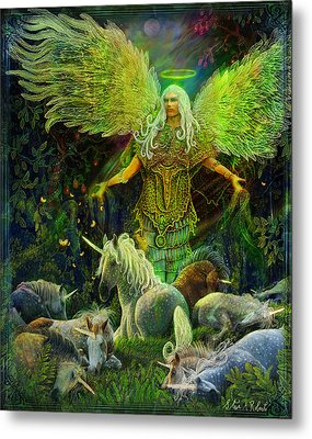 Archangel Raphael Protector Of Unicorns Metal Print