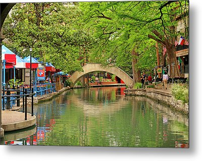 Metal Print featuring the photograph Arched Bridge Reflection - San Antonio by Art Block Collections