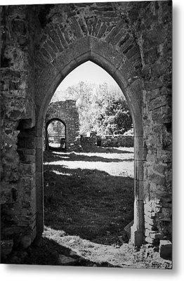 Arched Door At Ballybeg Priory In Buttevant Ireland Metal Print by Teresa Mucha
