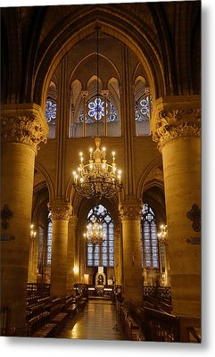 Architectural Artwork Within Notre Dame In Paris France Metal Print
