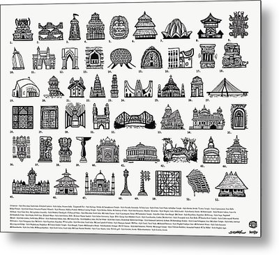 Architectural Icons Of India - Large - Black And White Metal Print