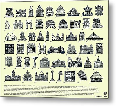 Architectural Icons Of India - Large Metal Print by Sasank Gopinathan