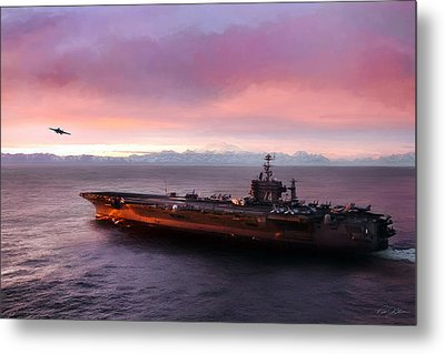 Arctic Cruise Sunset Metal Print by Peter Chilelli