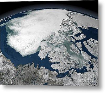 Arctic Sea Ice Above North America Metal Print by Stocktrek Images