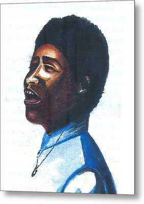 Metal Print featuring the painting Aretha Franklin by Emmanuel Baliyanga