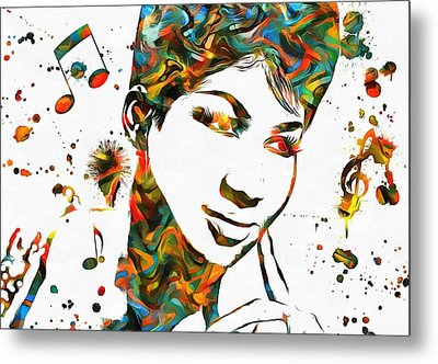 Aretha Franklin Paint Splatter Metal Print by Dan Sproul