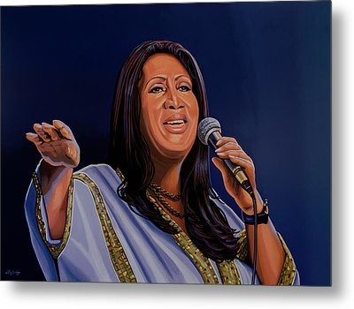 Aretha Franklin Painting Metal Print by Paul Meijering