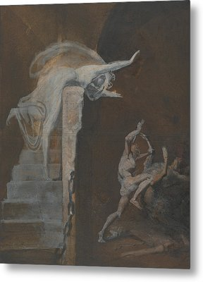 Ariadne Watching The Struggle Of Theseus With The Minotaur Metal Print