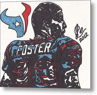 Metal Print featuring the drawing Arian Foster 2 by Jeremiah Colley