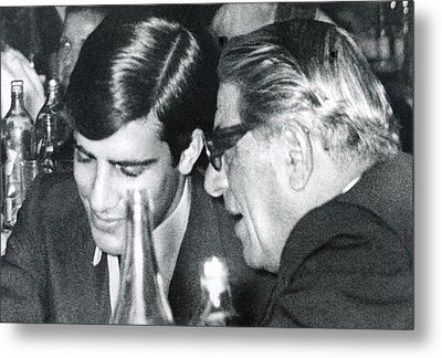 Aristotle Onassis Right, With His Son Metal Print by Everett