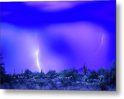 Arizona Blue Hour Desert Storm Metal Print