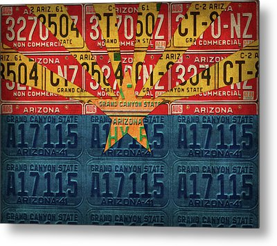 Arizona State Flag Vintage License Plate Art Metal Print by Design Turnpike