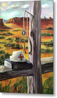 Metal Print featuring the painting Arizona The Nurse And Hope by Randol Burns