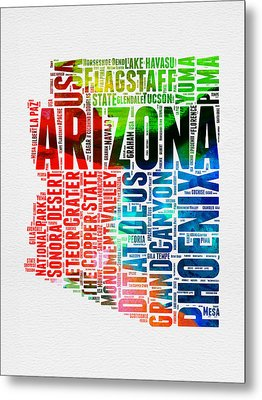 Arizona Watercolor Word Cloud Map  Metal Print by Naxart Studio