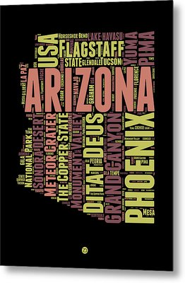 Arizona Word Cloud Map 1 Metal Print by Naxart Studio