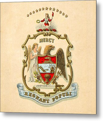 Arkansas Historical Coat Of Arms Circa 1876 Metal Print