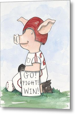 Arkansas Razorback Baseball Piggy Metal Print by Annie Laurie