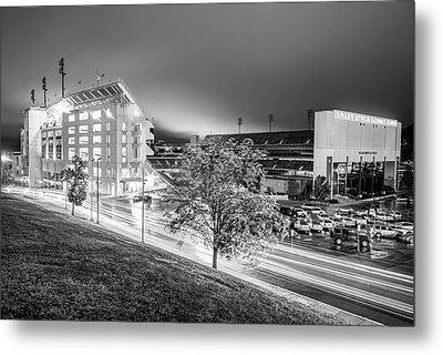 Arkansas Razorback Football Stadium At Night - Fayetteville Arkansas Black And White Metal Print by Gregory Ballos