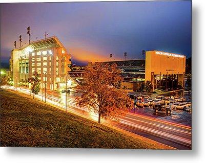 Arkansas Razorback Football Stadium At Night - Fayetteville Arkansas Metal Print by Gregory Ballos