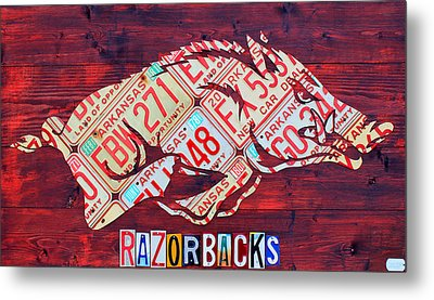 Arkansas Razorbacks Recycled Vintage License Plate Art Sports Team Logo Metal Print by Design Turnpike