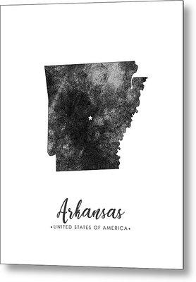 Arkansas State Map Art - Grunge Silhouette Metal Print