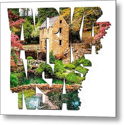 Arkansas Typography - Afternoon At The Old Mill - Arkansas Metal Print