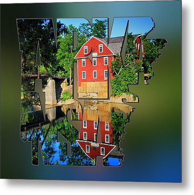 Arkansas Typography Blur - State Shapes Series - War Eagle Mill And Bridge - Arkansas Metal Print by Gregory Ballos