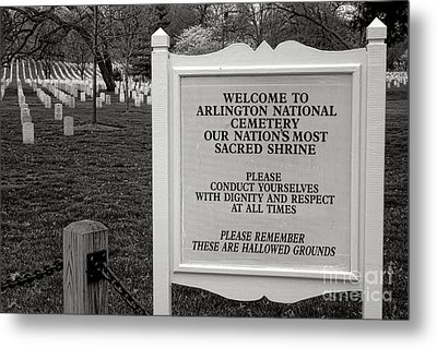 Arlington Cemetery Sign Metal Print by Olivier Le Queinec