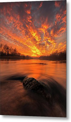 Metal Print featuring the photograph Fire On Sky by Davorin Mance