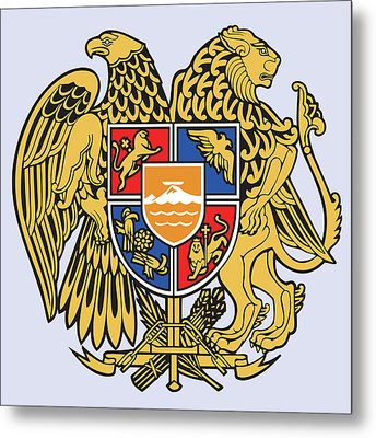 Metal Print featuring the drawing Armenia Coat Of Arms by Movie Poster Prints