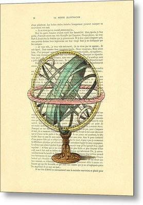 Armillary Sphere In Color Antique Illustration On Book Page Metal Print by Madame Memento