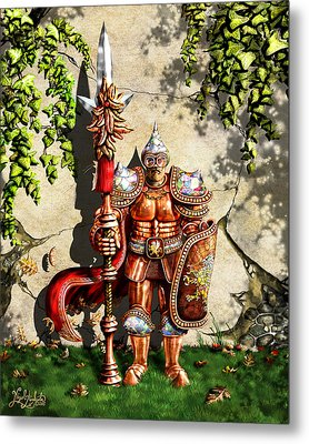 Armored Imperial Gryphon Guard Wielding A Shield And Ranseur Metal Print by Nigel Andreola