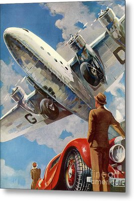 Armstrong Whitworth  Ensign Of Imperial Airways And A Red Car Metal Print by Mary Evans Picture Library