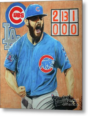 Metal Print featuring the drawing Arrieta No Hitter - Vol. 1 by Melissa Goodrich