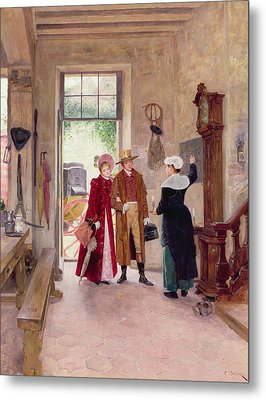 Arrival At The Inn Metal Print by Charles Edouard Delort
