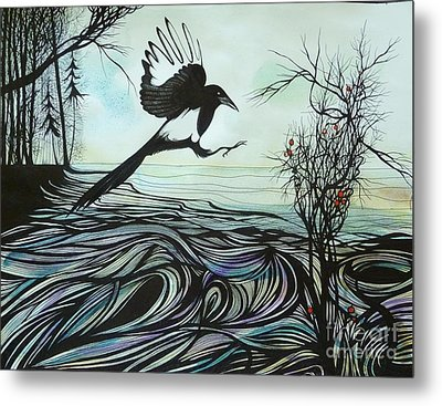 Metal Print featuring the drawing Arrival Of Autumn by Anna  Duyunova