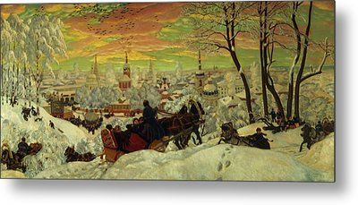 Arriving For The Holidays Metal Print by Boris Mihajlovic Kustodiev