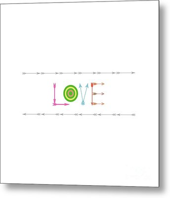 Arrow Love - Changeable Background Color Metal Print