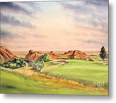 Metal Print featuring the painting Arrowhead Golf Course Colorado Hole 3 by Bill Holkham