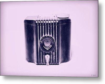 Art Deco Baby Brownie Purple Camera Metal Print